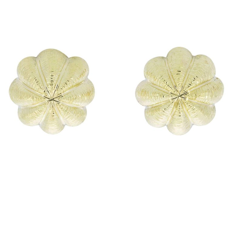 Tiffany & Co. Sea Urchin 18 Karat Yellow Gold Textured Dome Earrings For Sale