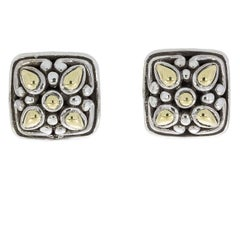 John Hardy Angela Sterling Silver and Gold Cushion Stud Earrings