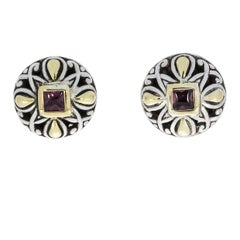 John Hardy Garnet Angela Sterling Silver and Gold Round Stud Earrings