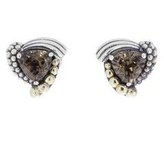 Lagos Trillion Smokey Quartz Caviar Sterling Silver/18 Karat Gold Earrings