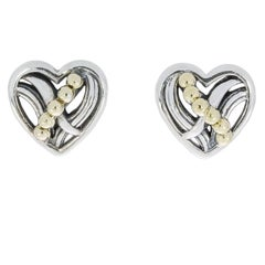 Lagos Unlaced Heart Sterling Silver and 18 Karat Yellow Gold Earrings