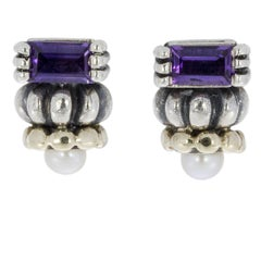 Lagos Amethyst and Pearl Glacier Sterling Silver and Gold Earrings