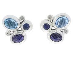 David Yurman Iolite Sapphire Diamond Mosaic Sterling Silver Earrings