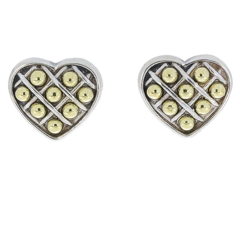 Lagos Box and Dot Sterling Silver and 18 Karat Yellow Gold Heart Earrings