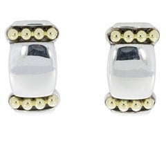 Lagos Caviar Sterling Silver and 18 Karat Yellow Gold Cushion Earrings