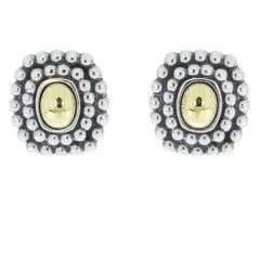 Lagos Caviar Sterling Silver and 18 Karat Yellow Gold Dome Centre Earrings
