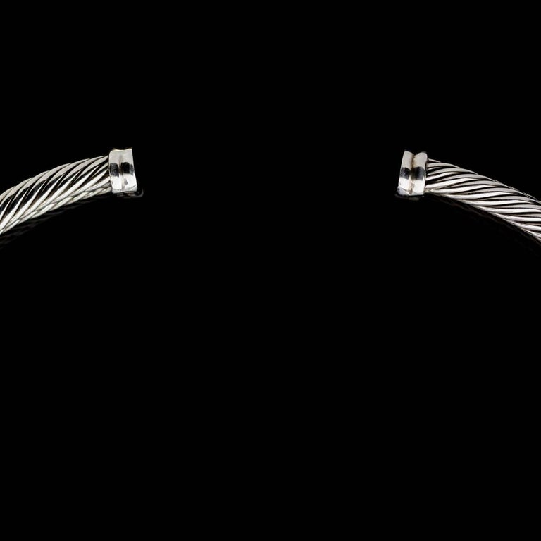 David Yurman Crossover X Silver and Gold Cable Choker Necklace In Excellent Condition For Sale In Columbia, MO