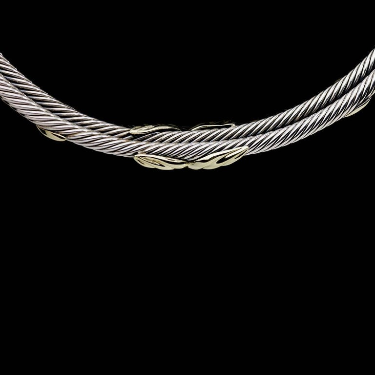 Women's or Men's David Yurman Crossover X Silver and Gold Cable Choker Necklace For Sale
