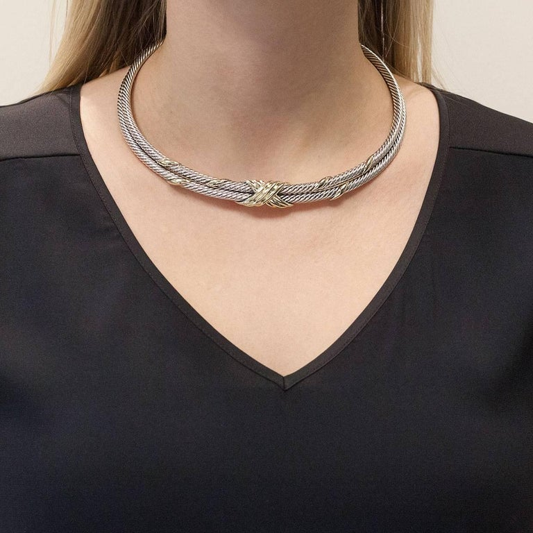 David Yurman Crossover X Silver and Gold Cable Choker Necklace For Sale 1