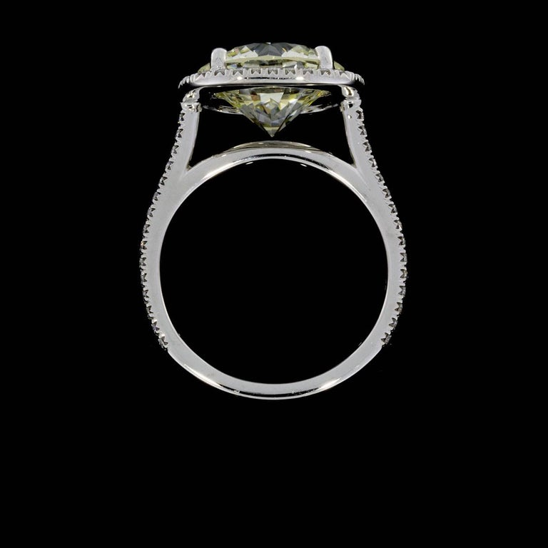 Martin Flyer Platinum 5.42 Carat GIA Certified Diamond Halo Engagement Ring In As New Condition For Sale In Columbia, MO