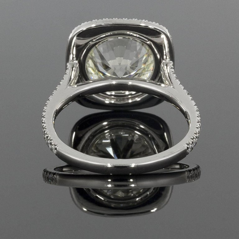 Round Cut Martin Flyer Platinum 5.42 Carat GIA Certified Diamond Halo Engagement Ring For Sale