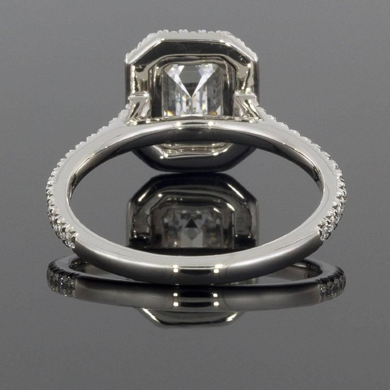 Martin Flyer 1.88 Carat Emerald Cut Platinum Halo GIA Certified Diamond Ring In Excellent Condition For Sale In Columbia, MO