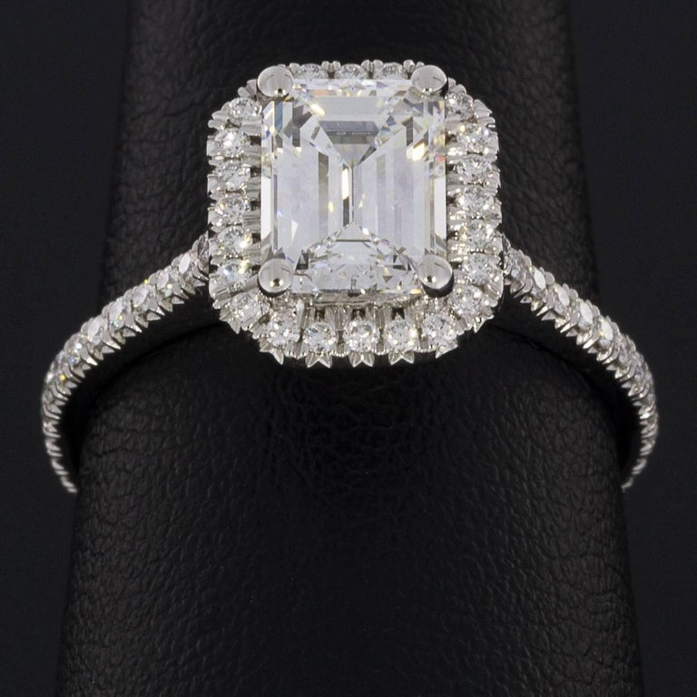 Martin Flyer 1.88 Carat Emerald Cut Platinum Halo GIA Certified Diamond Ring For Sale 1
