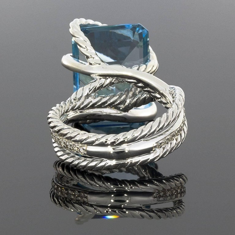 David Yurman Blue Topaz And Diamond Sterling Silver Cable