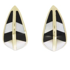 14 Karat Yellow Gold Earrings with Black Onyx and Mother-of-Pearl Inlays