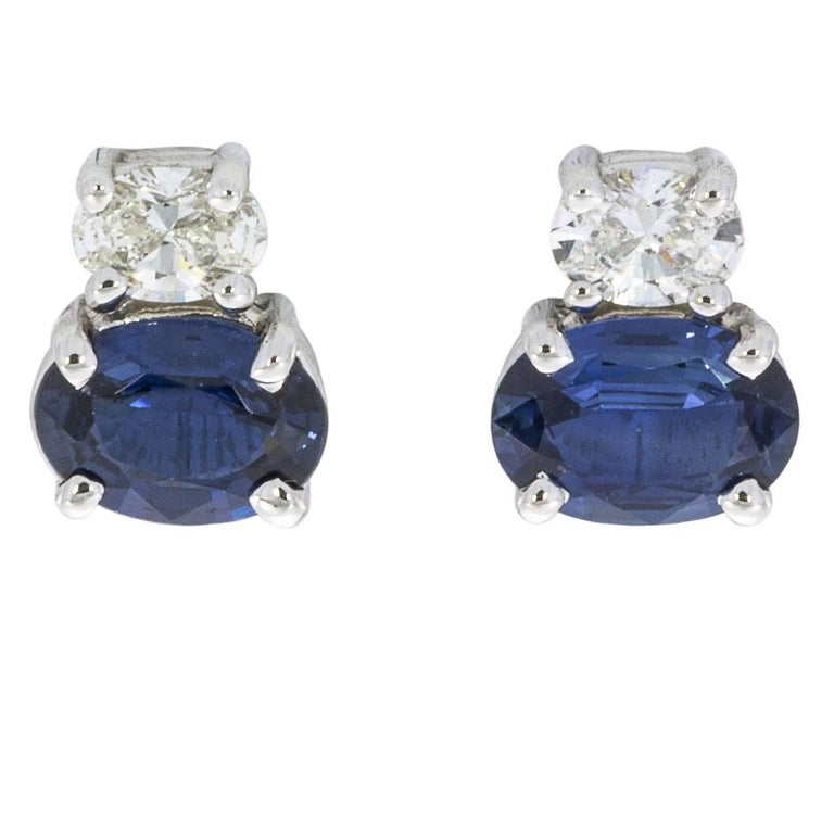 2.26 Carat Sapphire and Diamond 18 Karat White Gold Earrings