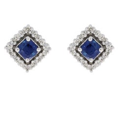 White Gold Cushion Cut Sapphire and Diamond Halo Stud Earrings