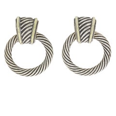 David Yurman Silver and Gold Thoroughbred Classic Doorknocker Hoop Earrings