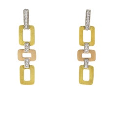 Multi-Tone Tricolor Gold Round Diamond Deco Geometric Drop Earrings
