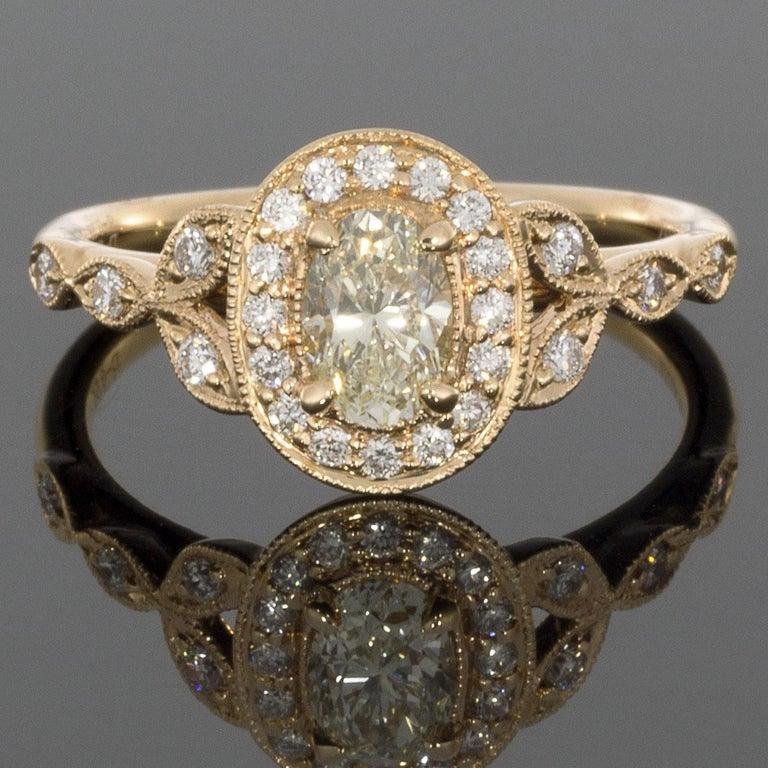 Rosegold Ovale Diamanten Vintage Inspirierter Halo Verlobungsring