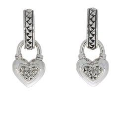 Scott Kay Sterling Silver Pave Diamond Equestrian Heart Dangle Earrings