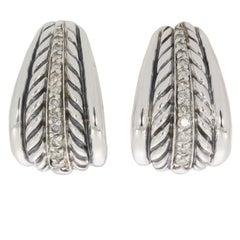 David Yurman Thoroughbred Gold and Silver Graduated Diamond J-Hoop Earrings