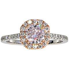 0.80 Carat Cushion Purple-Pink GIA Cert Diamond Gold Halo Ring