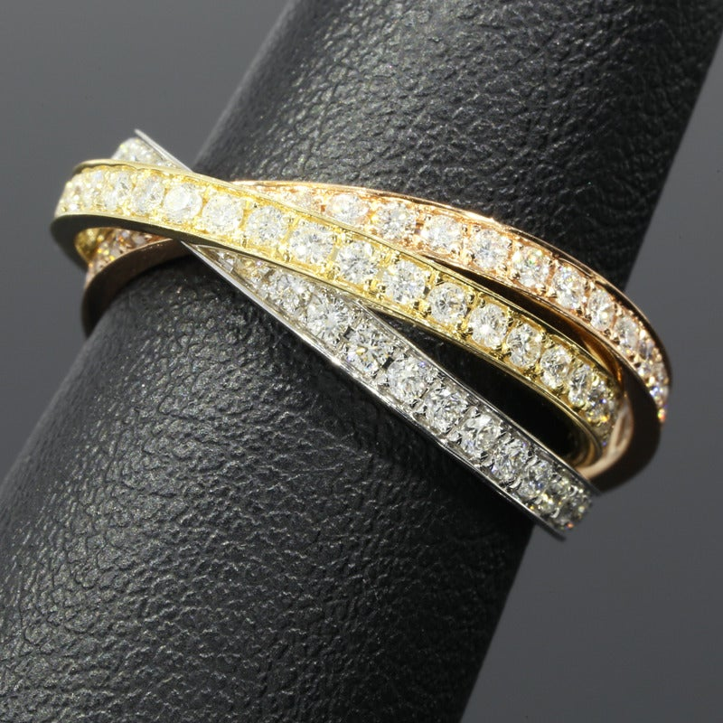 tri color three color gold rolling rings set at