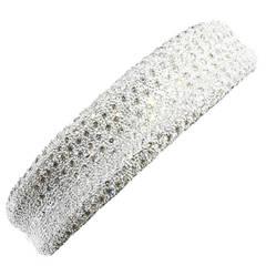 7.86CTW Pave Diamond Concave Bangle