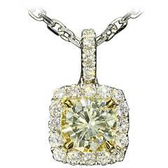 1.40CTW Light Fancy Yellow Diamond Halo Pendant