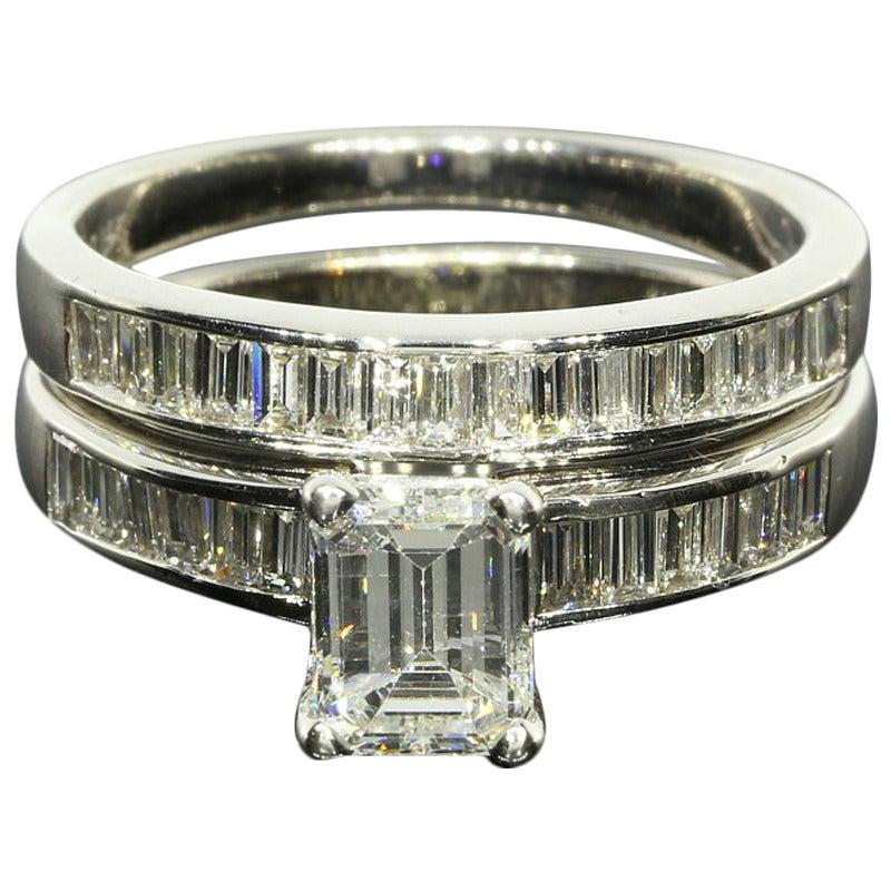 emerald and baguette diamond bridal set at 1stdibs