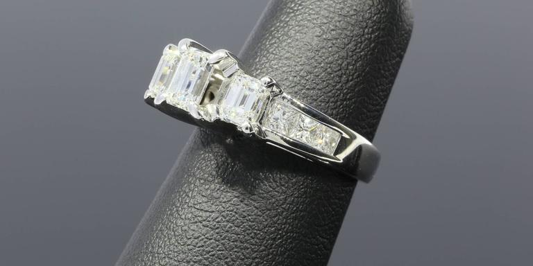 Three-Stone Emerald Cut Diamond Gold Engagement Ring 5