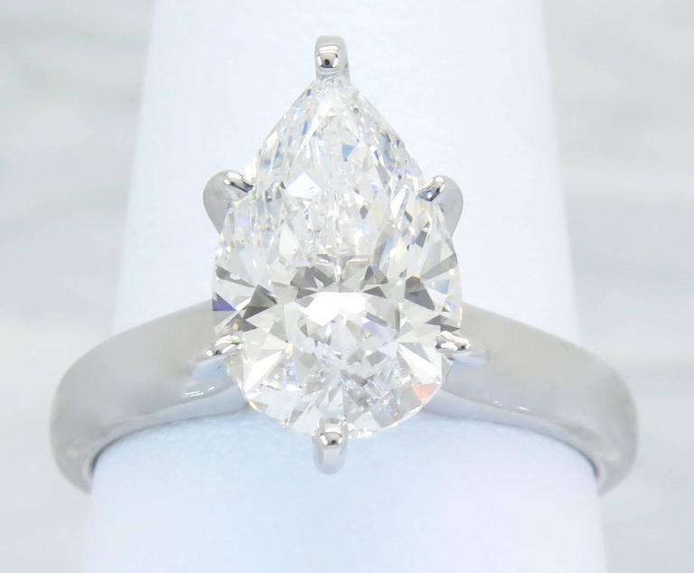 3 02 Carat Impressive Pear Diamond Gold Solitaire Ring at 1stdibs