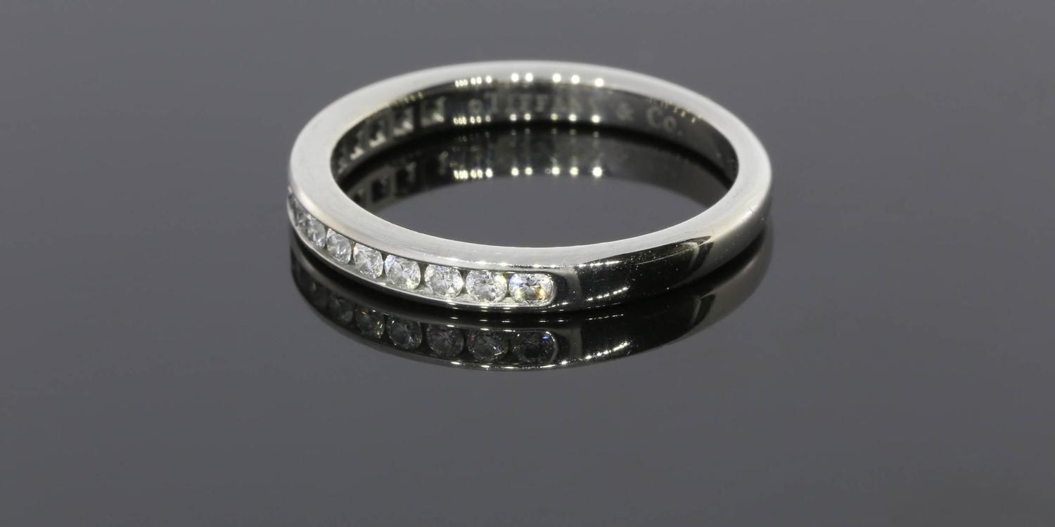 Tiffany And Co Round Diamonds Platinum Channel Half