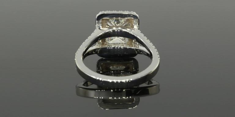 1.54 Carat GIA Cert Radiant Diamond Gold Double Halo Engagement Ring In New Condition For Sale In Columbia, MO