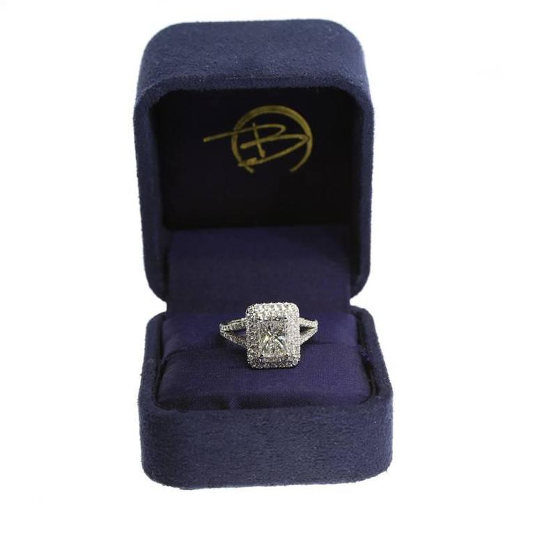1.54 Carat GIA Cert Radiant Diamond Gold Double Halo Engagement Ring For Sale 1