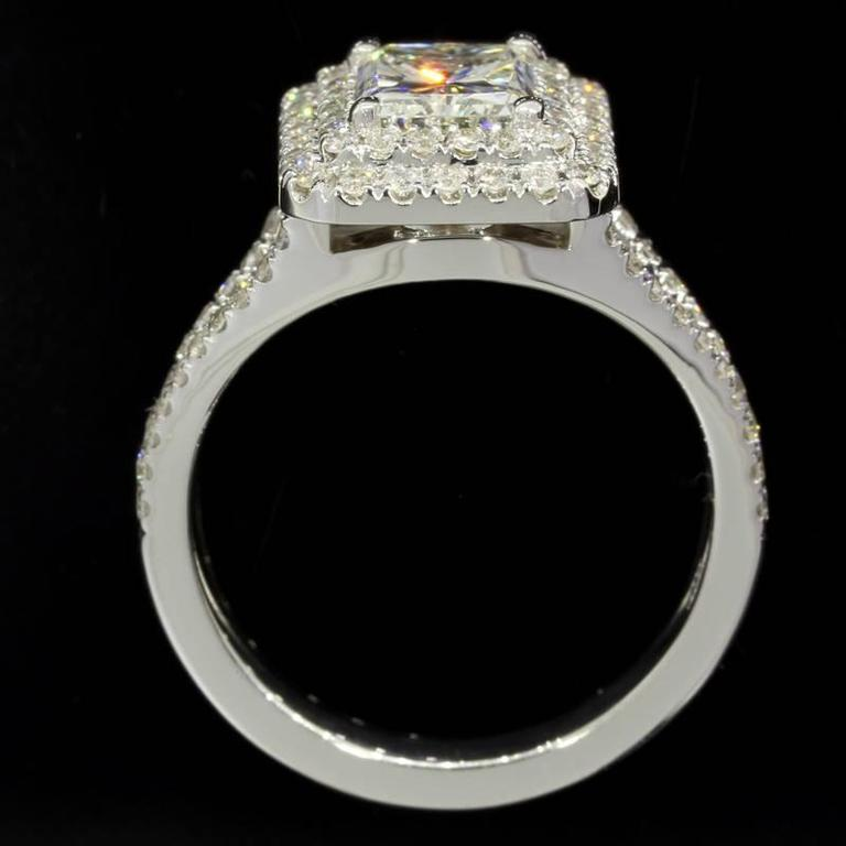 Women's 1.54 Carat GIA Cert Radiant Diamond Gold Double Halo Engagement Ring For Sale