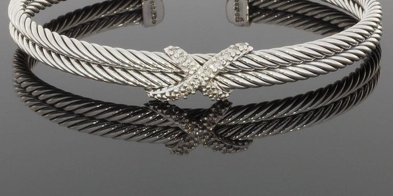 David Yurman Sterling Silver Diamond Quot X Quot Double Cable Cuff