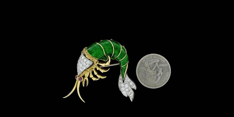 Very Unique Ruby Enamel Diamond Yellow and White Gold Shrimp Prawn Brooch Pin 6