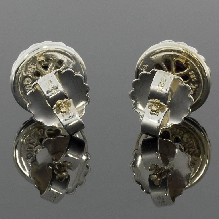 David Yurman Silver And Gold Cable Classics Cookie Stud