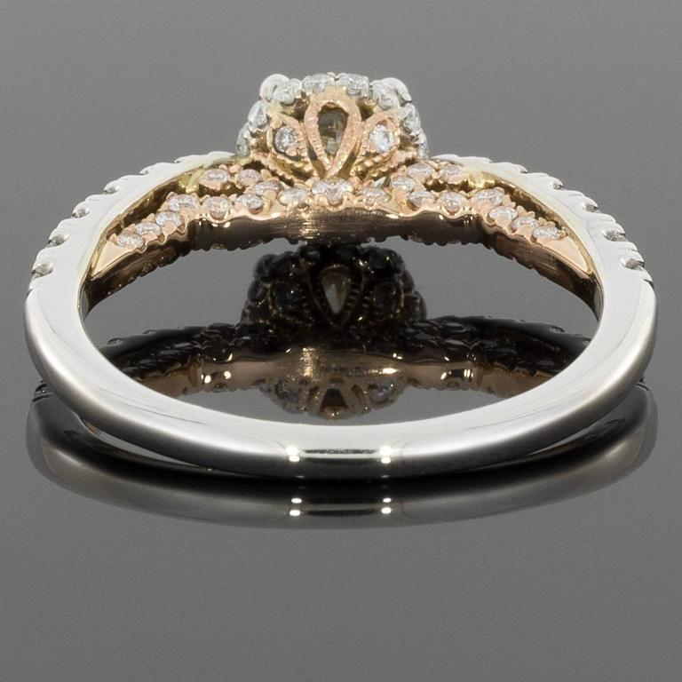 White and Rose Gold Round Diamond Halo Engagement Ring In New Condition For Sale In Columbia, MO