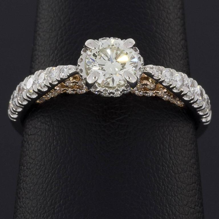 White and Rose Gold Round Diamond Halo Engagement Ring For Sale 1