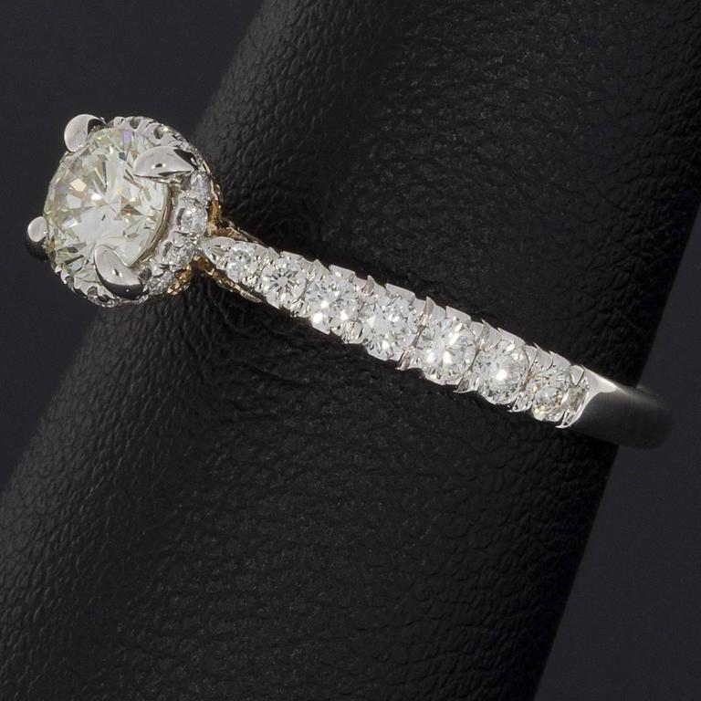 White and Rose Gold Round Diamond Halo Engagement Ring For Sale 2