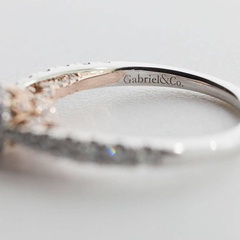 White and Rose Gold Round Diamond Halo Engagement Ring For Sale 4