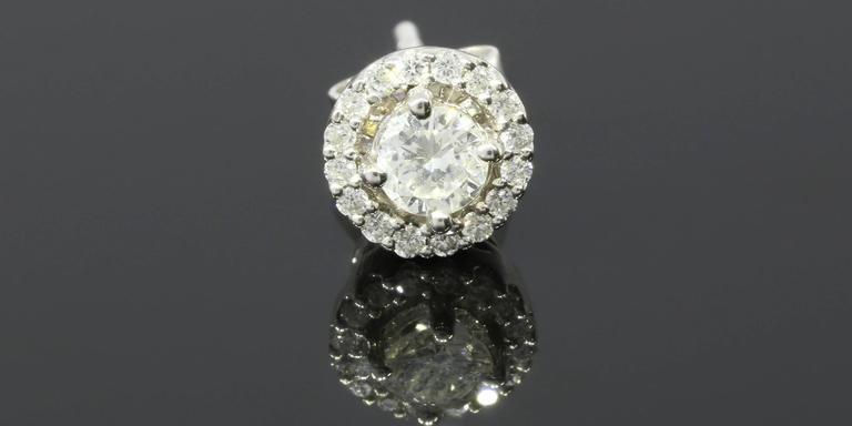 White Gold Round Diamond Halo Stud Earrings 3