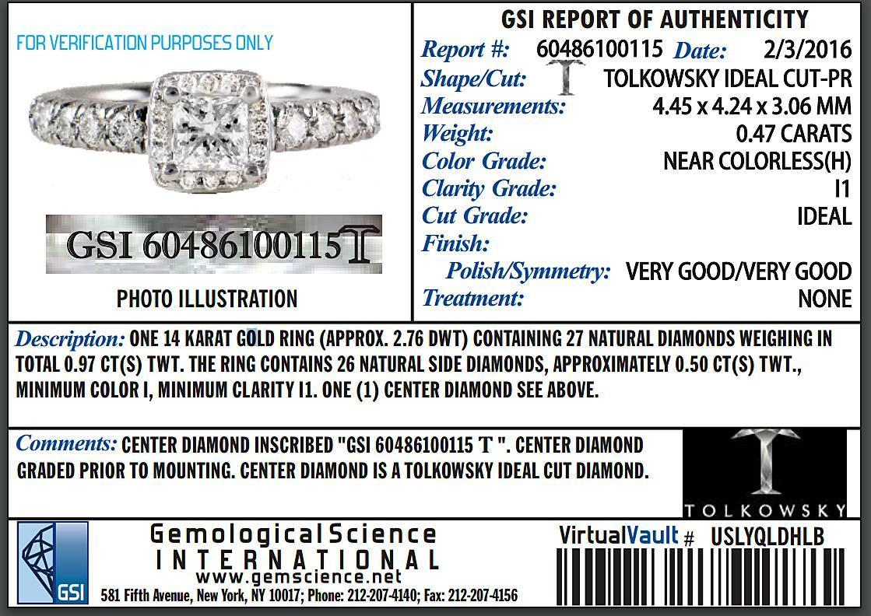 Tolkowsky Princess Cushion Shaped Diamond Halo Engagement Ring And