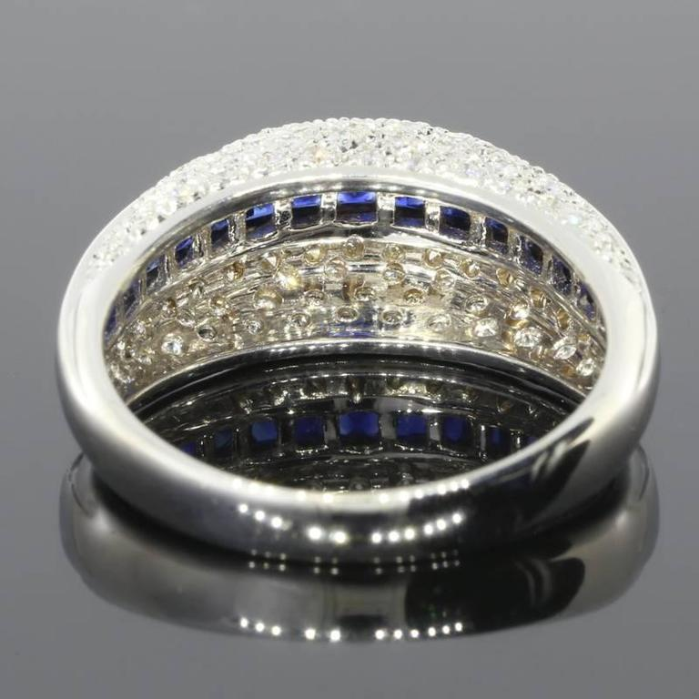 Princess Cut White Gold Sapphire and Diamond Unique Domed Band Ring For Sale