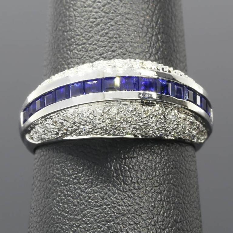 White Gold Sapphire and Diamond Unique Domed Band Ring In Excellent Condition For Sale In Columbia, MO