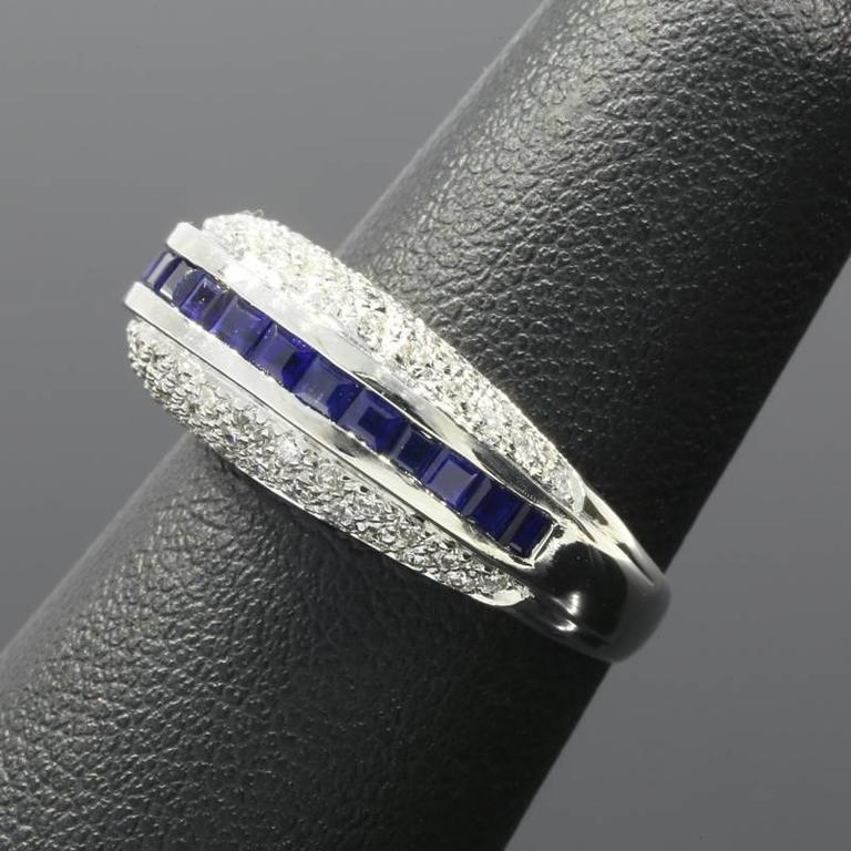 White Gold Sapphire and Diamond Unique Domed Band Ring For Sale 1
