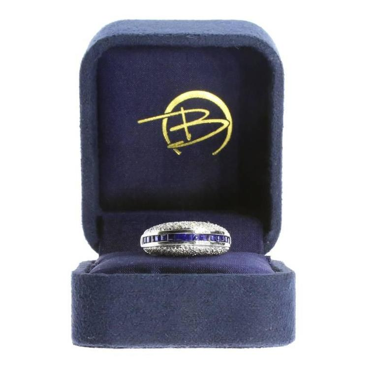 White Gold Sapphire and Diamond Unique Domed Band Ring For Sale 3